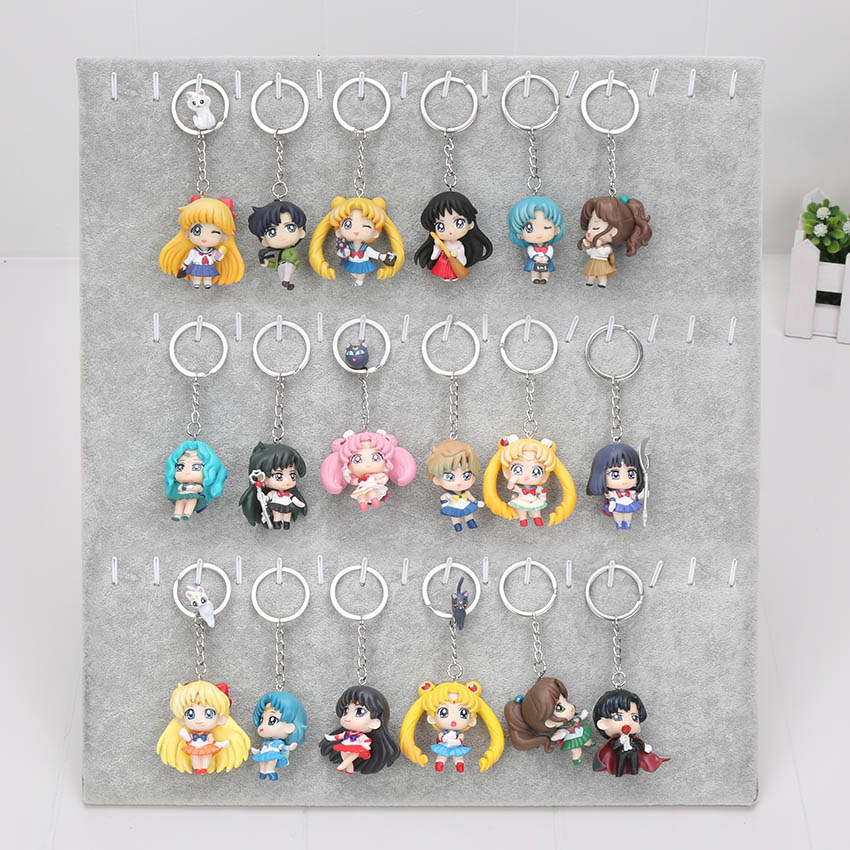 6pcs/set Janpanese Anime Sailor Moon Figures Tsukino Usagi Sailor Mars Mercury Jupiter Venus Saturn PVC Doll Keychain Pendant