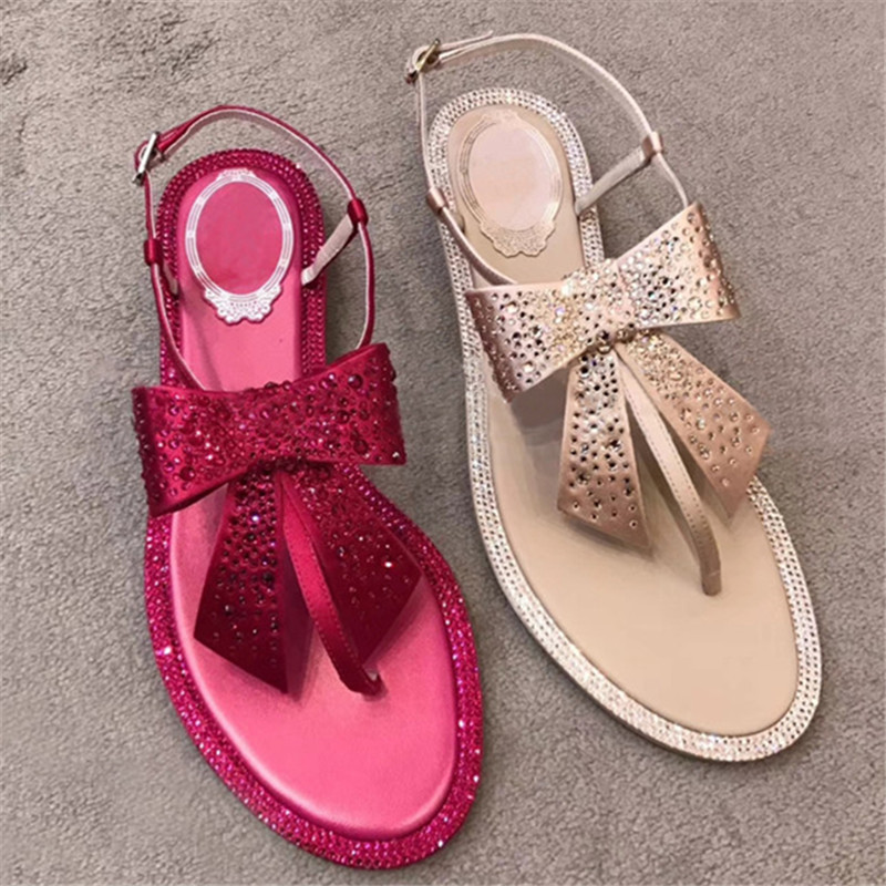 Femmes Partie as Femme Dames Show Boucle Show Sangle As Tongs noeud Cristal T Papillon Chaussures Spartiates Sandales sangle qaSfHxzt
