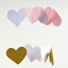 Paper Garland Valentines Day Decoration Wedding Garland, Heart Banner Photo Prop, Paper Heart Garland Pink white gold  3m