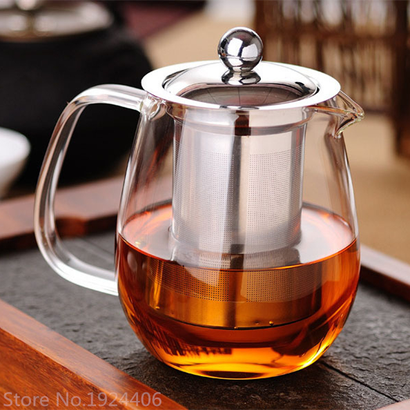Penguin Shape Glass Teapot Heat Resistant Filter Coffee Tea Set Water Kettle Flower Tea Pot Convenient
