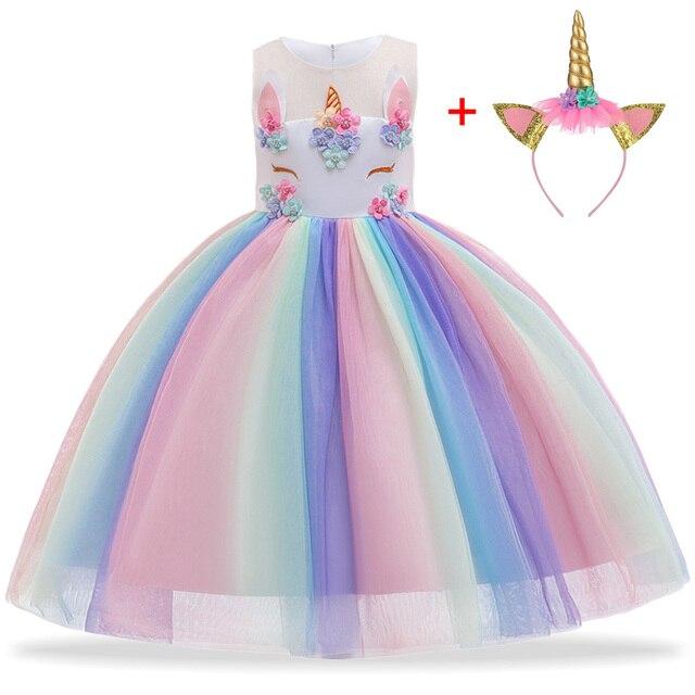 Unicorn Dress Christmas Kids Dresses For Girls Moana Elsa Costume Girls Princess Dress Children Birthday Party Dress fantasia 1