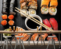 Papel de parede Seafoods Sushi Chopsticks Food wallpaper mural for living room TV wall kitchen restaurant wall papers home decor