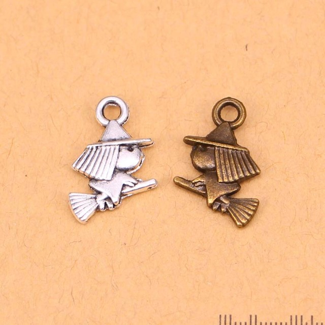 30pcs wholesale silverbronze cute witch riding halloween bracelet 30pcs wholesale silverbronze cute witch riding halloween bracelet charms pendants for jewelry making accessories mozeypictures Images