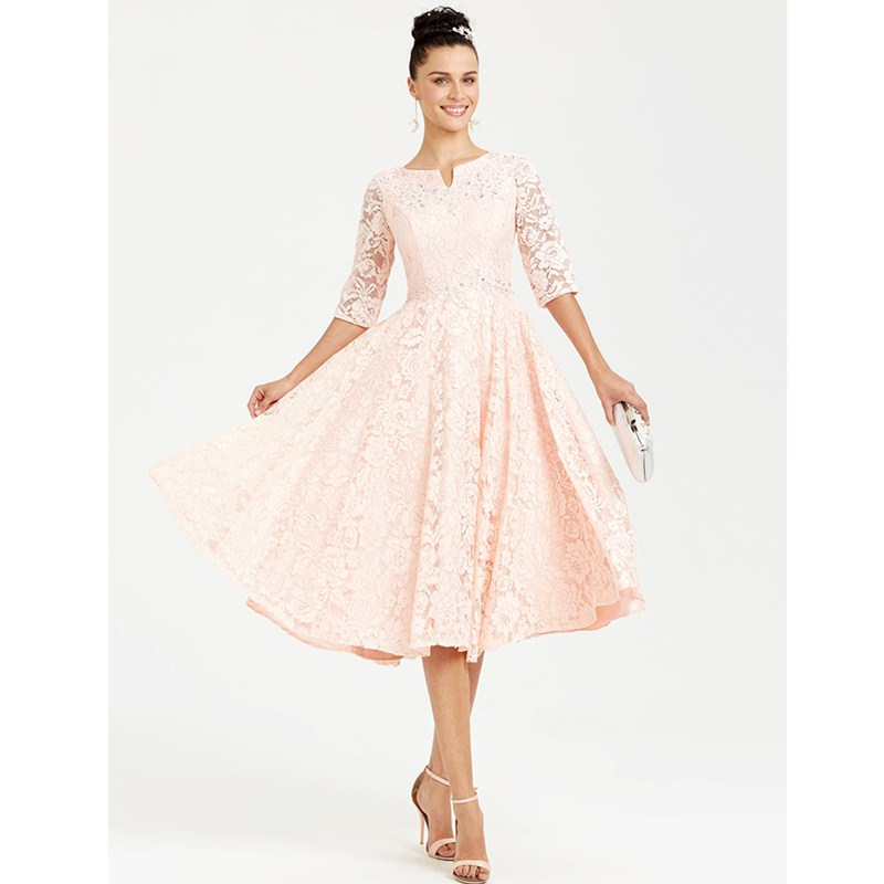Ts Couture Princess Fit Amp Flare Notched Tea Length Lace