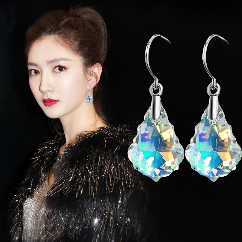 Fashion Silver color Ear hook drop Water droplets Maple leaf AB-Colorful glass Earrings For Women charm Dangles Fine Jewelry