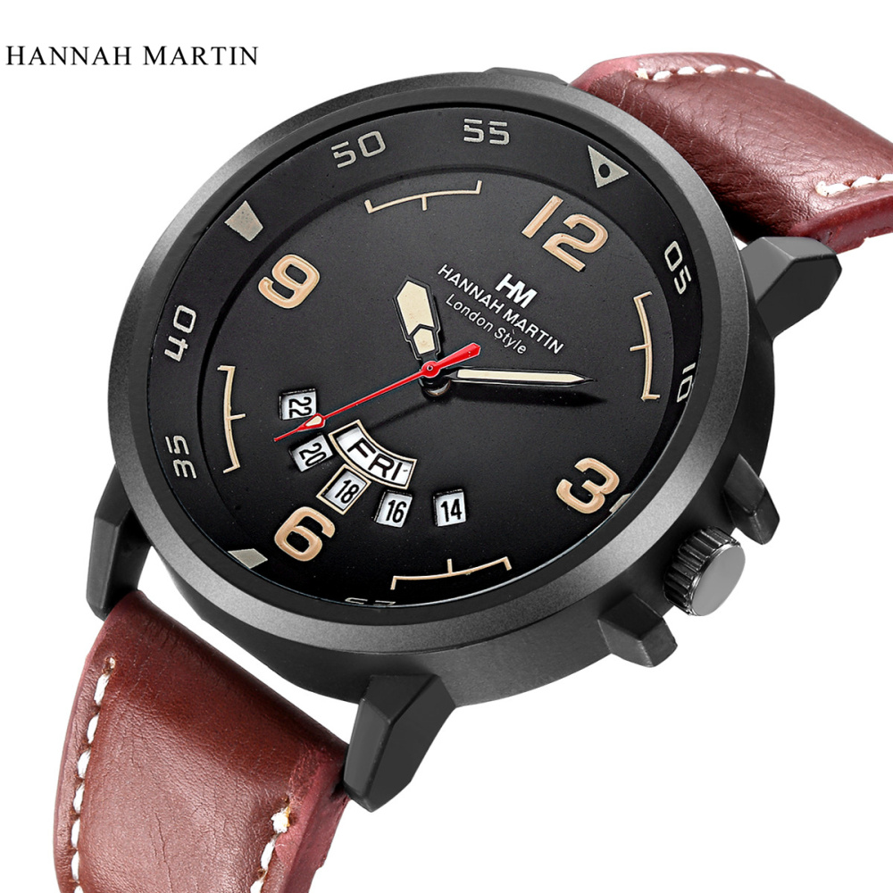Hannah Martin Top Brand Watch Men Watch Auto Date Week Fashion Watches Leather Waterproof Watches relogio masculino reloj hombre цена и фото