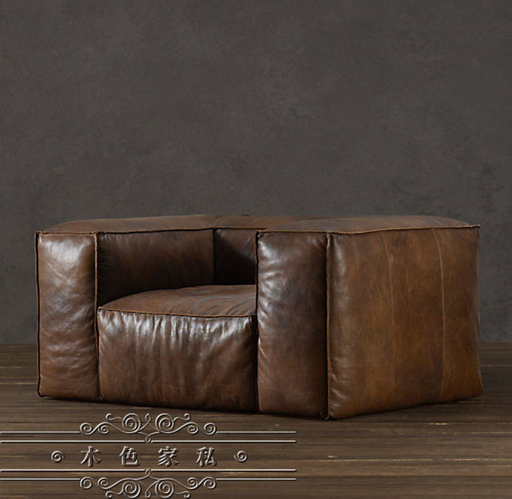 American French Rural Single Vintage Leather Sofa Nordic Ikea Oil Wax Double Trio In Garden Sofas From Furniture On Aliexpress Alibaba