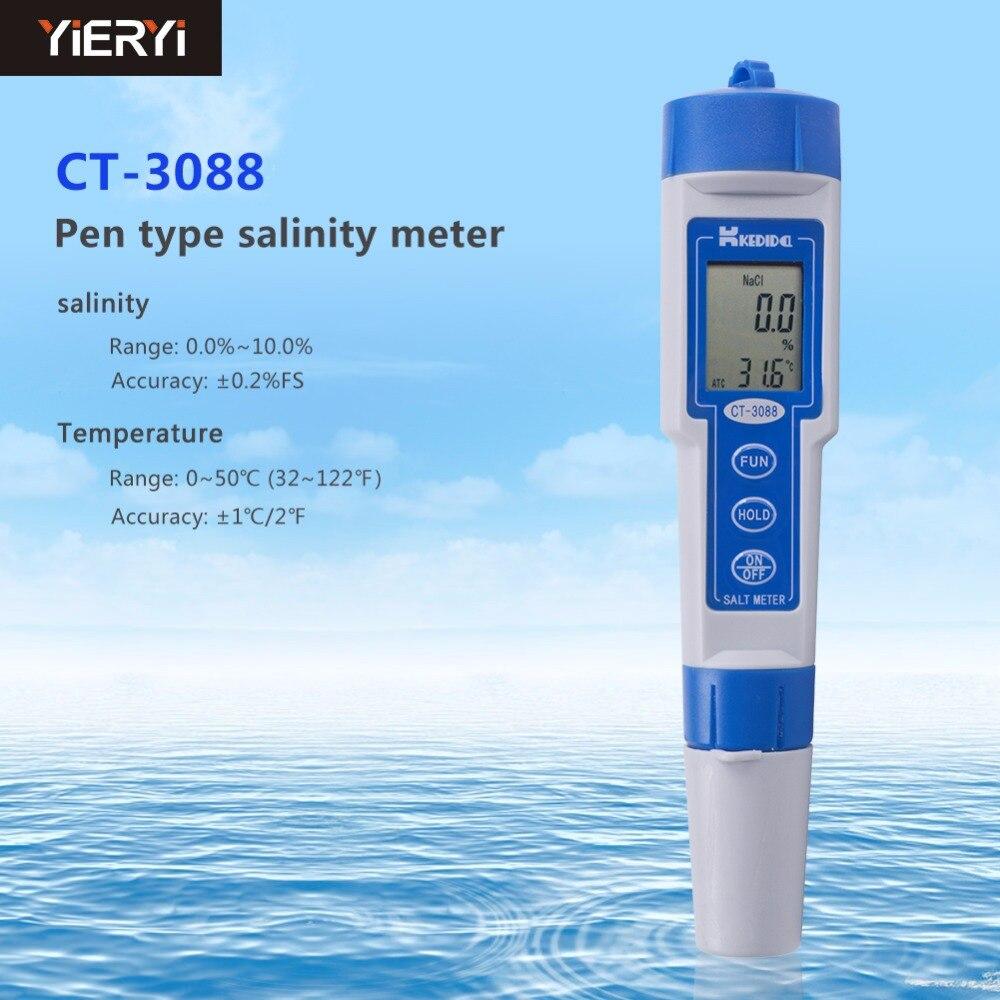 Digital Waterproof Salt Meter Range 0.0%To 10.0% Aquarium Water Quality Salt Pool Tester Pen Type Salinity Tester Salinometer tds digital salinity tester meter for salt water pool
