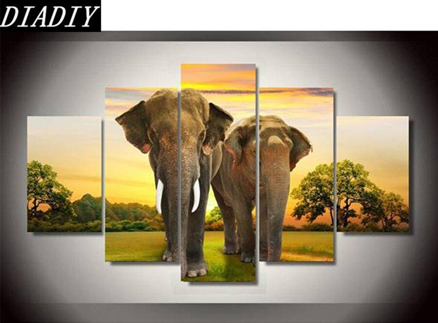 5 pièces nouveau style bricolage 5d diamant peinture animal deux éléphant strass collé peinture ronde perceuse couture peinture toile