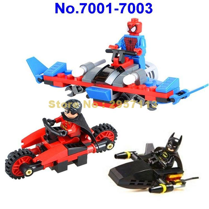 Decool 7001-7003 Super Hero 3Pcs Batman Robin Spider Man Building Bricks Brick Toy  бленда canon ew 60 ii for ef 24mm f 2 8