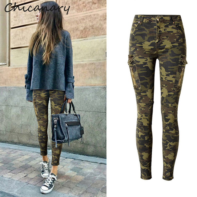 Militaire Camo Chicanary Femmes Imprimer Cargo Poches Skinny Jeans rQthsdC