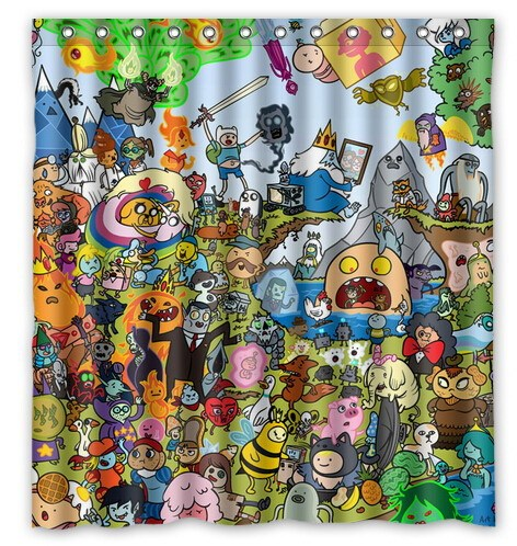 Custom Cartoon Adventure Time Artwork Printed Polyester Shower Curtain 66 Inch By 72 American Style Bathroom