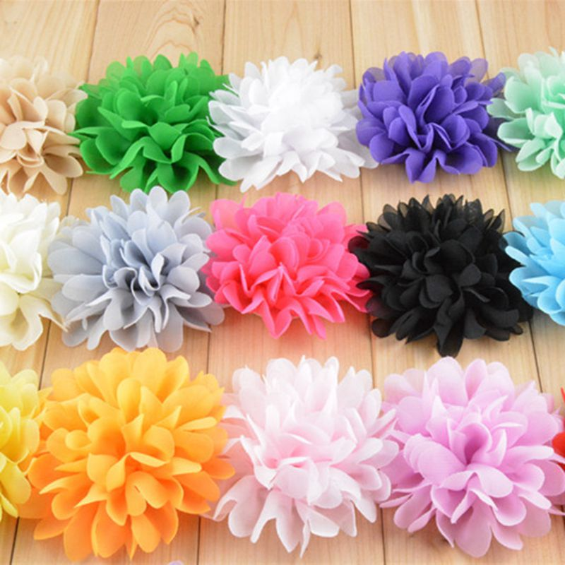 120pcs/lot 10cm 18 Colors Big Fluffy Chiffon Flowers For Baby Girls Hair Accessories Artificial Fabric Flowers For Headbands