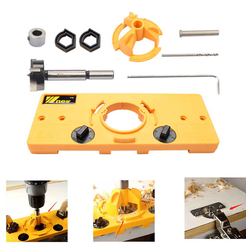 35MM Cup Style Hinge Boring Jig Drill Guide Set Door Hole Template For Kreg Tool Concealed Hinge Jig Woodworking DIY Tool W Logo