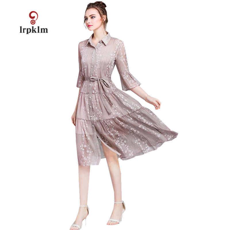 Brand Women Summer Dress 2018 New Ladies Party Dresses Solid Women's Turndown Collar Casual Vintage Dress Pink Lace Dress PQ364