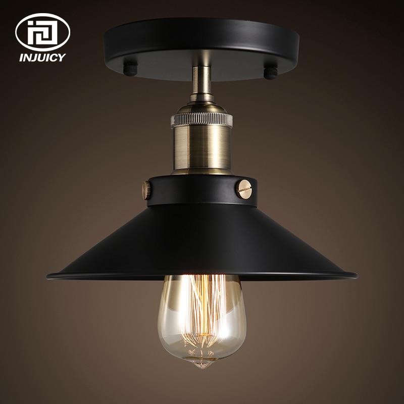 Işıklar ve Aydınlatma'ten Tavan Işıkları'de Vintage Edison Endüstriyel tavan lambası fikstürü Antika Pirinç 22CM Siyah Metal Tavan Lambası Cafe Bar Restoran Balkon title=