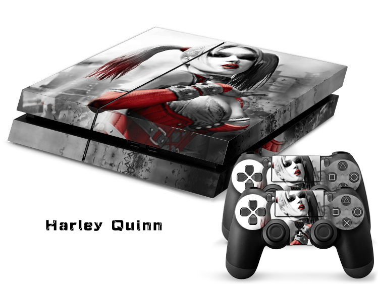 Harley Quinn Front & Back Vinyl Decal Skin Sticker For PlayStation 4 Console and 2 PCS Cover Skins of PS4 Controller