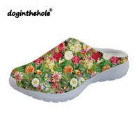 doginthehole Sport Sandals for Women Summer Beach Shoes 2019 Garden Flowers Printing Flat Slippers Outdoor Mesh Sea Shoes Girls