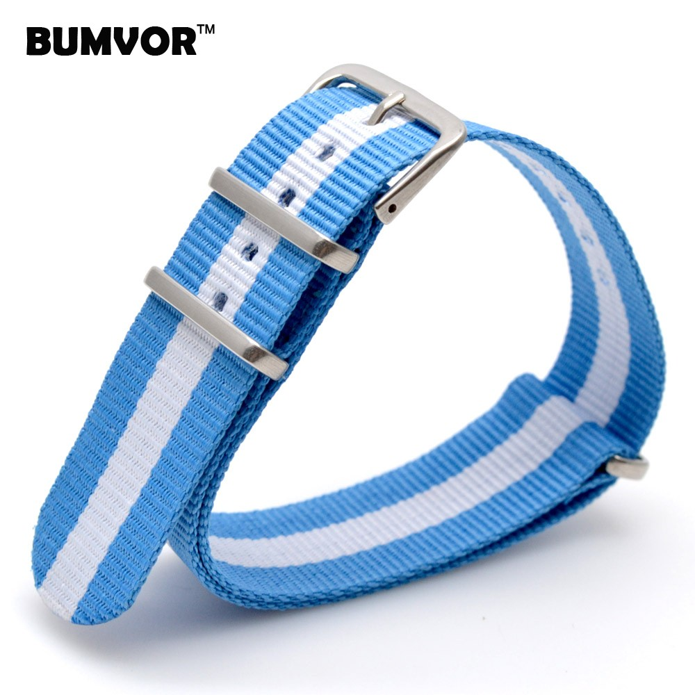 18mm Nato Cambo Light color Blue White Stripe Casual Nylon Fabric Woven Watch Watch Band Strap Band Buckle belt 18 mm Girl Women