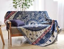 Alfombra azul horóscopo para sofá de la sala dormitorio alfombra sofá manta de hilo teñido patrón étnico tapiz colcha
