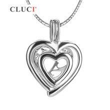 CLUCI romántica Doble Amor encantos Del Corazón de plata de ley 925 collar medallón colgante, joyería fina para las mujeres