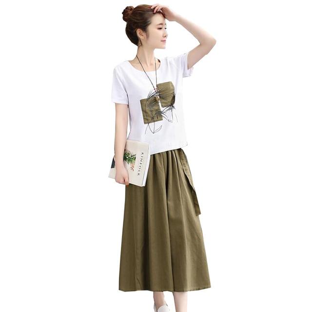 2020 Summer Women Set Skirt Suit White print Cotton linen Tees Top Loose  Female Two Piece set (T Shirt+Skirt) womens clothing