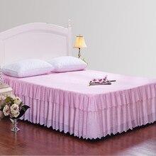 Девушки Принцесса Хлопок Кружево юбка Кровати Розовый Король/Королева/Полный размер Покрывало Простыня Для Подарков