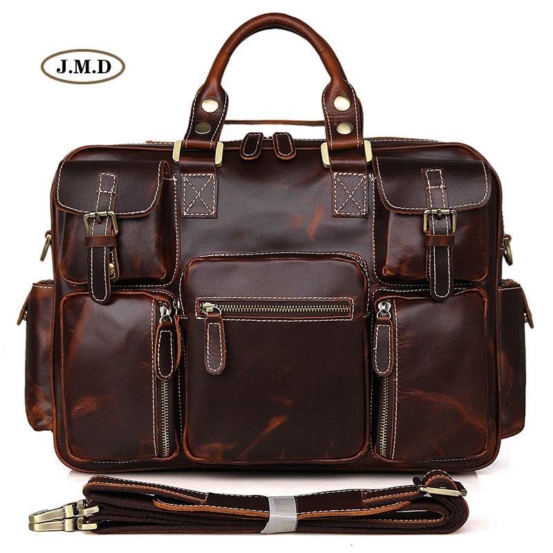 Augus Genuine Cow Leather Multi-Compartment Design Unique Men's Fashion Briefcases Laptop Handbags Busniess Messenger Bag 7028C