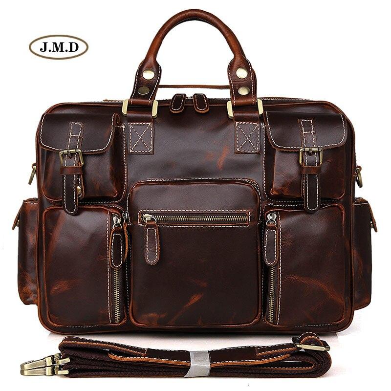 J.M.D Genuine Cow Leather Multi-Compartment Design Unique Men's Fashion Briefcases Laptop Handbags Busniess Messenger Bag 7028C