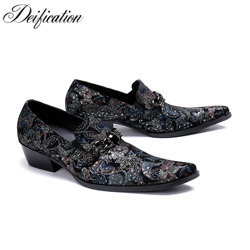 Deification Luxury Designer Slip On Mens Shoes Fashion Printed Genuine Leather Mens Formal Shoes Pointed Toe Party Wedding Shoes large size mens luxury fashion party nightclub cow leather shoes slip on breathable rhinestones shoe pointed toe loafers sapatos