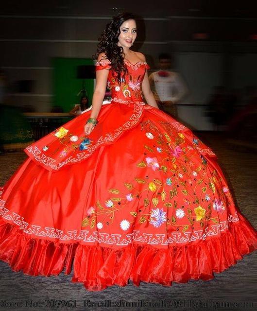 69855ef169 Nueva Novia de Color Rojo Bordado Niñas Vestidos Formales Del Desfile de  Vestidos de Quinceañera 2016