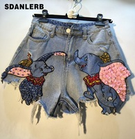 Denim Shorts Lady 2019 Summer New Bead Sequins Flying Elephant High Waist Cowboy Shorts Women's Holiday Hot Pants