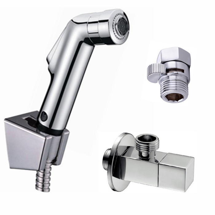 Free Shipping Toilet Bathroom ABS Bidet Diaper Shower Head two function Spray with valve Sprayer Woman Tap Douche kit BD538