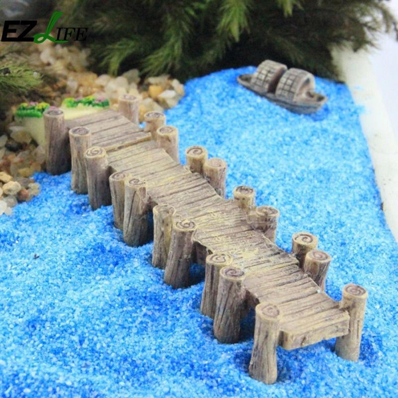 1pcs miniature wooden bridge garden ornament pot plant decorative ornament decoration for home - Wooden garden ornaments ...