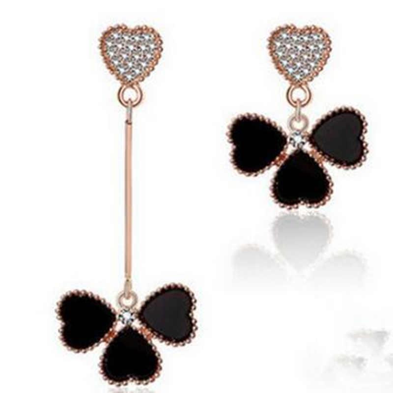 Mini đặt hàng $1) Châu Âu và Mỹ trang sức thời trang mới không đối xứng lá cỏ ba lá bông tai bông tai đối với phụ nữ tình yêu 4ED65