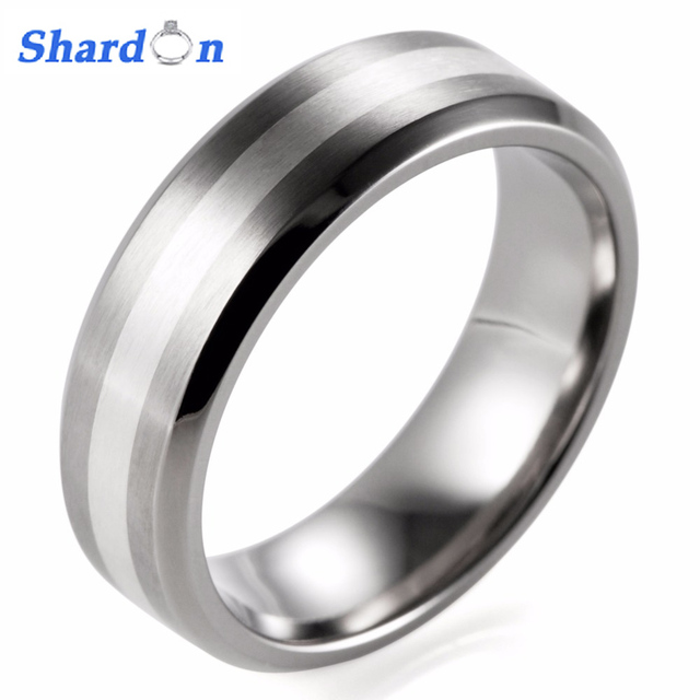 Unique SHARDON 7mm Mens Titanium Ring With stain finishing Inlay Silver  JN26