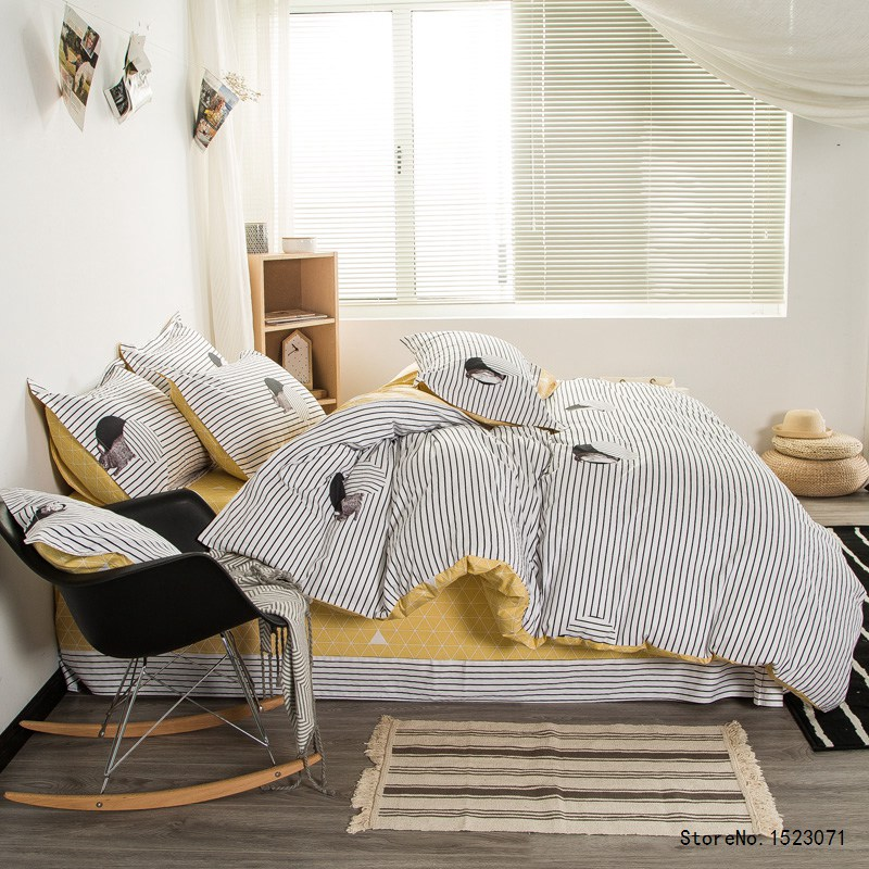 Black and white striped bedding set duvet cover yellow lattice bed sheet linen pillow cover pillowcases home textile