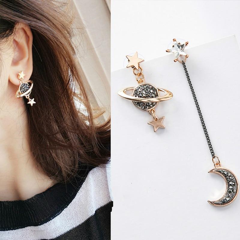New Hyperbole Geometric Women Dangle Earrings  Moon Saturn Pendant Asymmetrical Long Accessories Jewelry
