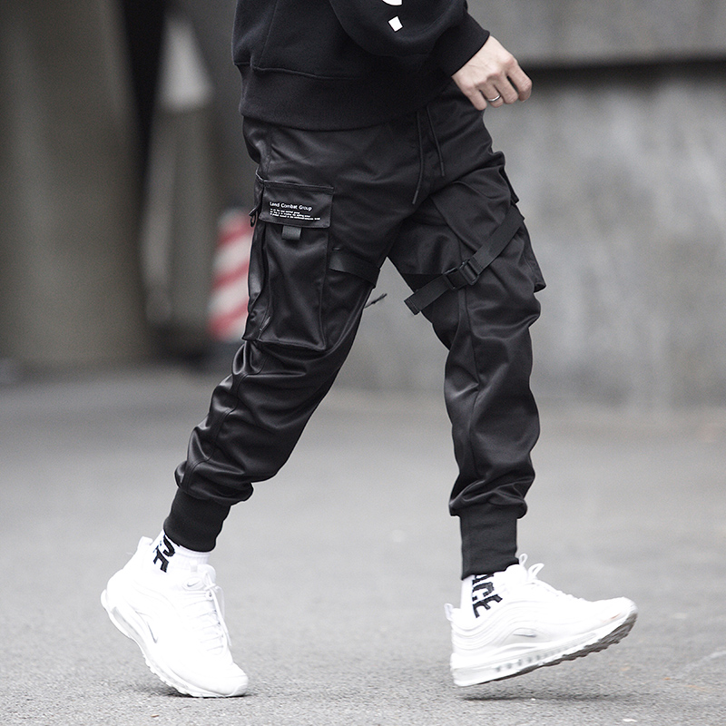 Kpop Motorcycle Pants Hip Hop Fashion Joggers Men Black Casual Trousers Harajuku Modis Pantalones Streetwear Reflective Techwear