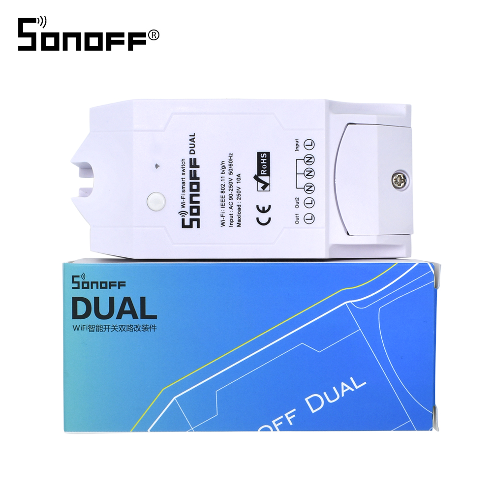 Itead SONOFF Dual inalámbrico WIFI Switch relé módulo 10A 220 V DIY Timing wi-fi para Smart Home Automation Control Remoto