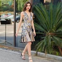 Dressv коктейльное платье Элегантный v шеи спинки Русалка Вышивка с коротким Мини Свадебная вечеринка торжественное платье коктейльные плать