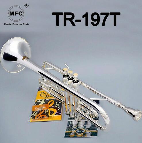 Bach Stradivarius professionnel Bb trompette TR-197T argent plaqué Instrumentos Musicales Profesionales avec étui embout