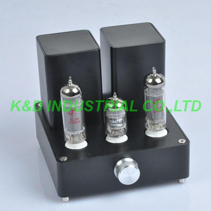 1 pc Preto Mini AMP Tubo de Vácuo Amplificador APPJ 12AX7B EL84 Classe Um Amplificador de potência de Áudio