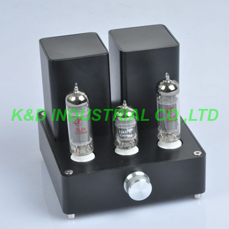 1pc Black Mini Vacuum Tube AMP Audio Amplifier APPJ EL84 12AX7B Class A power Amp silver mini tube amplifier appj pa0901a 6n4 6p14 tube upgrade to el84 12ax7b original minwatt n3 smallest tube audio amplifier