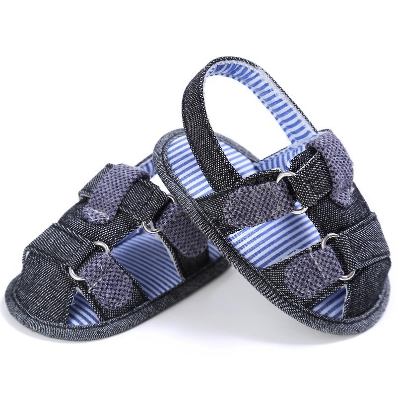 Baby Boy Sandals Blue Denim Crib Shoes 2017 Summer Leisure Shoe for Kids Newborn Infant Toddler Soft Sole Flip Flop Shoe Sol New
