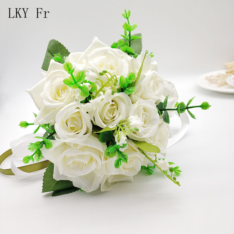LKY Fr Wedding Bouquet Bridal Bouquet Holder Silk Artificial Roses White Pink Wedding Bouquets For Bridesmaids Bouquet Mariage