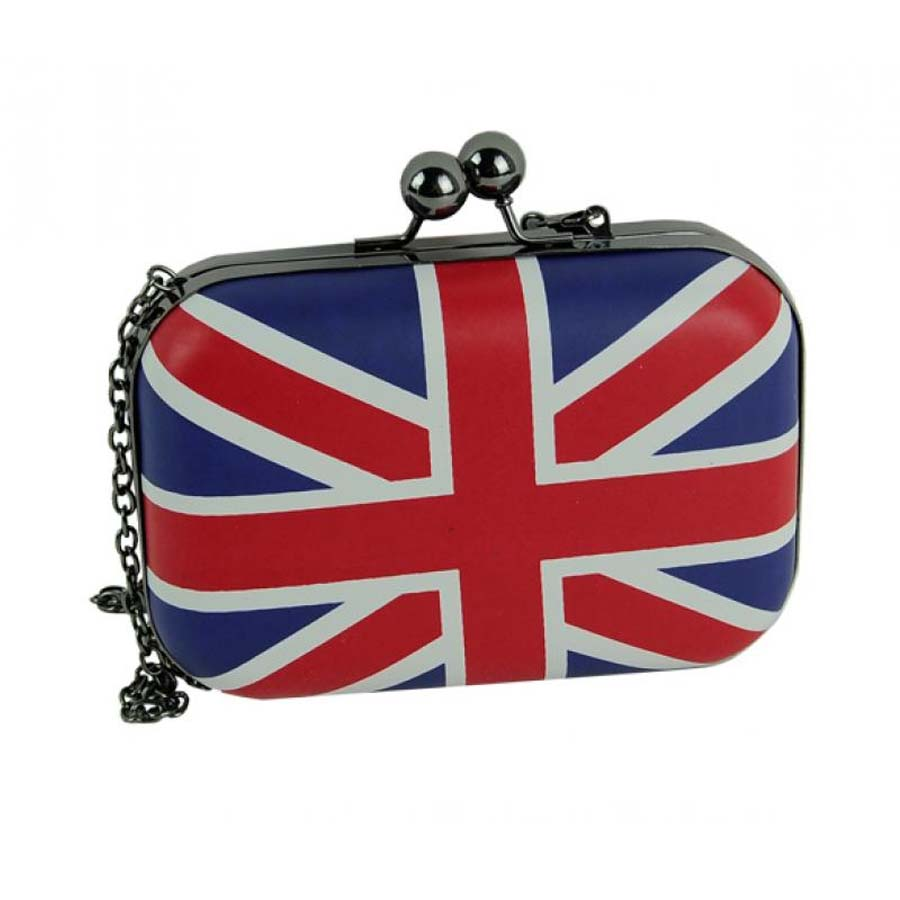 1ecd643f22 Mini Evening Bag Fashion UK Flag Women Messenger Bags Day Clutch Long Chain  Shoulder Bag Vintage