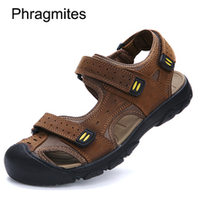 Phragmites Summer Breathable Ladiator Men's Sandals Genuine Leather Cover Toe Outdoor Casual Men Shoes Beach Sandals