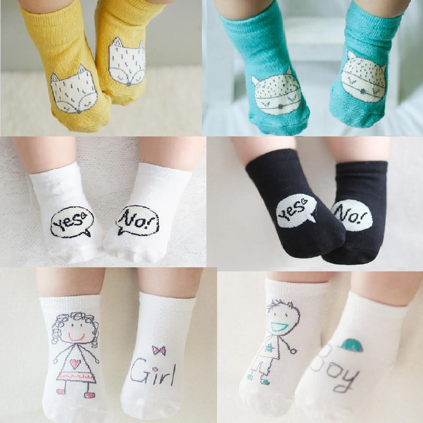 1 Pair Cute Baby Socks Newborn Floor Socks Cotton Socks Soft Breathable Socks Anti-skid Rubber Socks For 0-20-2 Years Old