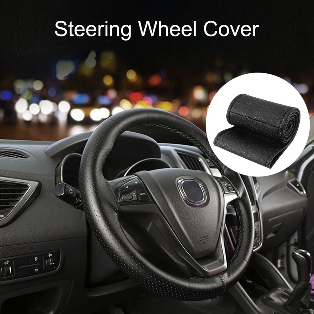 Car-Steering-Wheel-Cover Leather-Covers Car-Accessorie Auto Soft with Needles And Thread title=